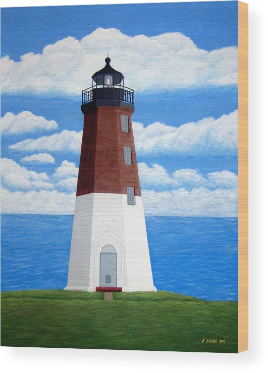 Lighthouse Paintings Wood Print featuring the painting Point Judith Lighthouse by Frederic Kohli