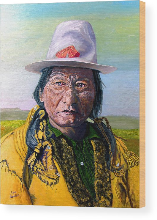 Original Oil On Canvas Wood Print featuring the painting Sitting Bull by Stan Hamilton