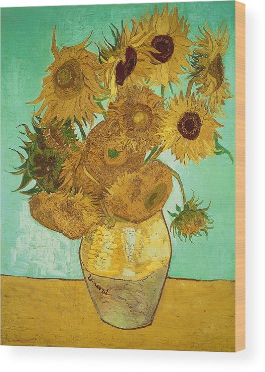 Sunflowers Wood Print featuring the painting Sunflowers By Van Gogh by Vincent Van Gogh