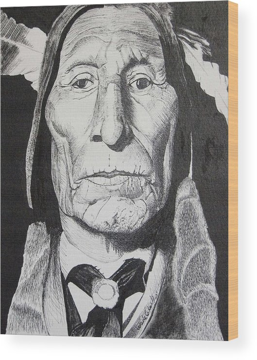 Native Americans Wood Print featuring the drawing Wolf Robe by Wade Clark