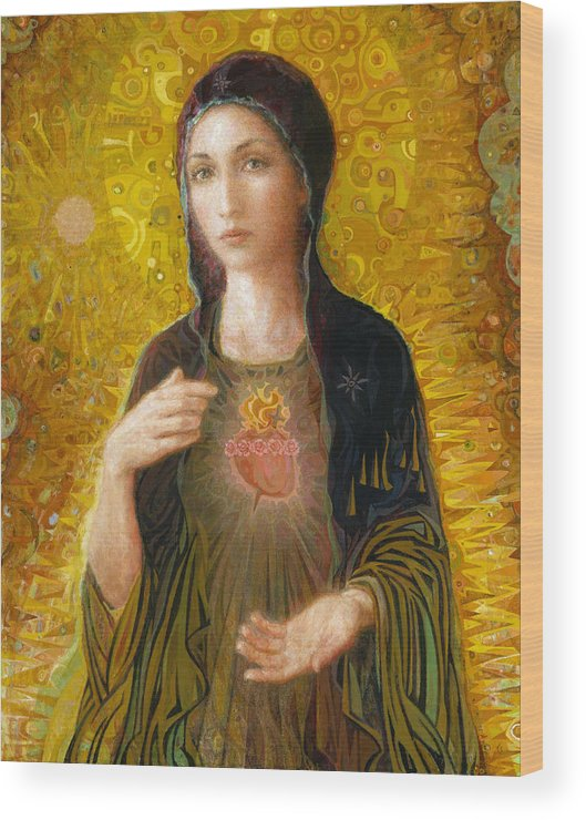 Mary Wood Print featuring the painting Immaculate Heart of Mary by Smith Catholic Art