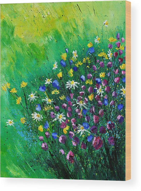 Flowers Wood Print featuring the painting Wild Flowers by Pol Ledent