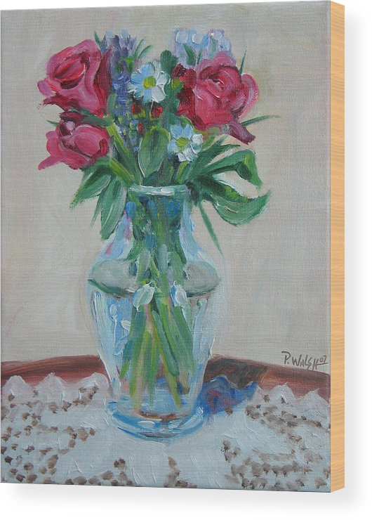 Roses Wood Print featuring the painting 3 Roses by Paul Walsh
