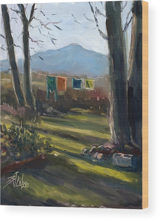 Simple Moment Wood Print featuring the painting A Moment in Time by Billie Colson