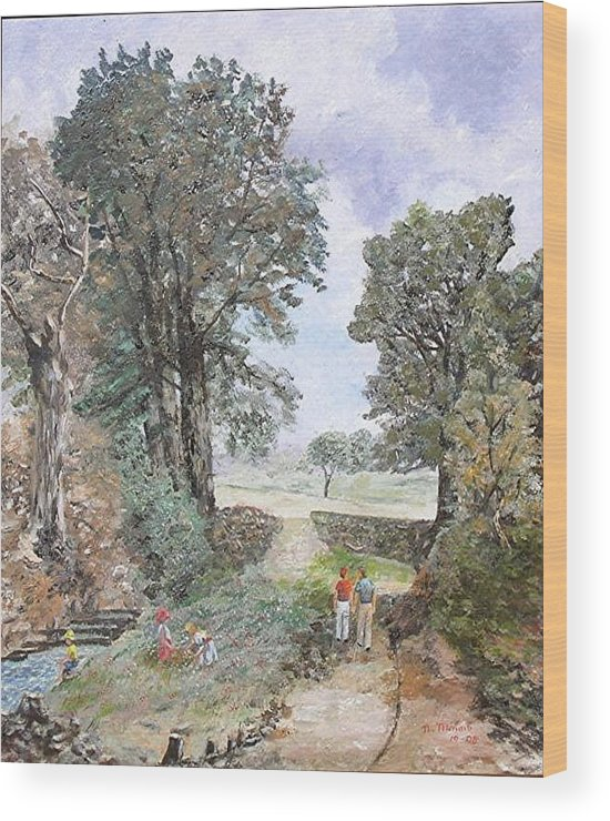 Landscape Painting Wood Print featuring the painting A walk in the woods by Nicholas Minniti