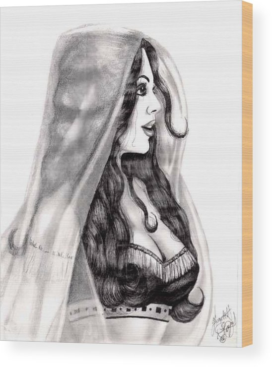 Figure Wood Print featuring the drawing Arabian Beauty by Scarlett Royal
