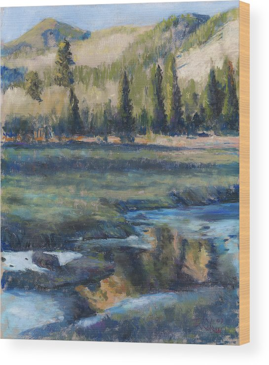 Partly Frozen River In The Rockies Wood Print featuring the painting Autumn Reflections by Billie Colson