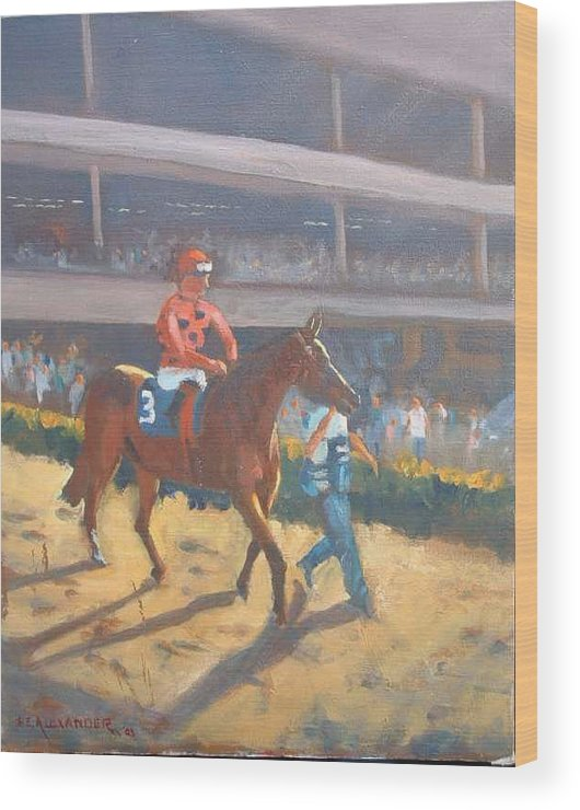 The Horses Are Approaching The Track For The Feature Race Of The Day...no. 3 Azari... Wood Print featuring the painting AZARI a sure winner by Bryan Alexander