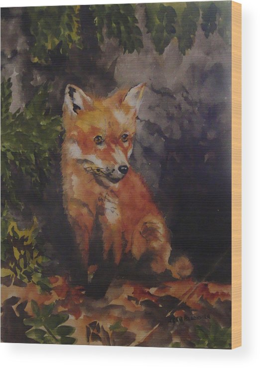 Fox Wood Print featuring the painting Babe In The Woods by Jean Blackmer