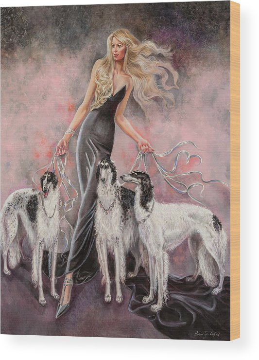 Barbara Tyler Ahlfield Wood Print featuring the painting Babs with Three Borzois by Barbara Tyler Ahlfield