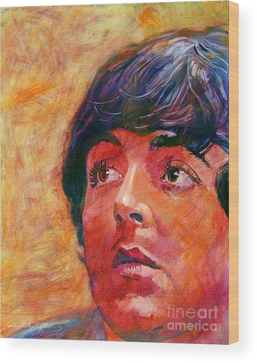 Paul Mccartney Wood Print featuring the painting Beatle Paul by David Lloyd Glover