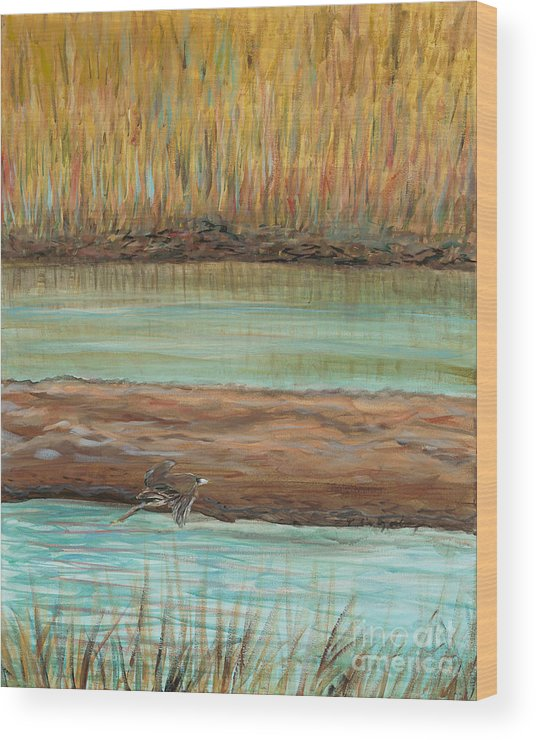 Bird Wood Print featuring the painting Bird in Flight by Nadine Rippelmeyer