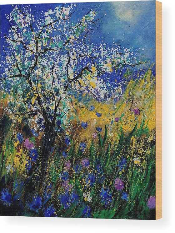 Spring Wood Print featuring the painting Blooming appletree by Pol Ledent