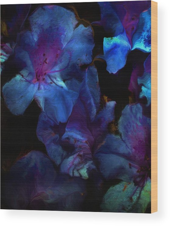 Floral Wood Print featuring the digital art Blue Floral Fantasy by David Lane