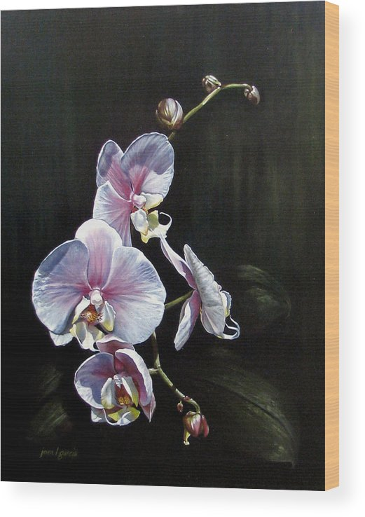 Orchid Wood Print featuring the painting Blushing by Joan Garcia