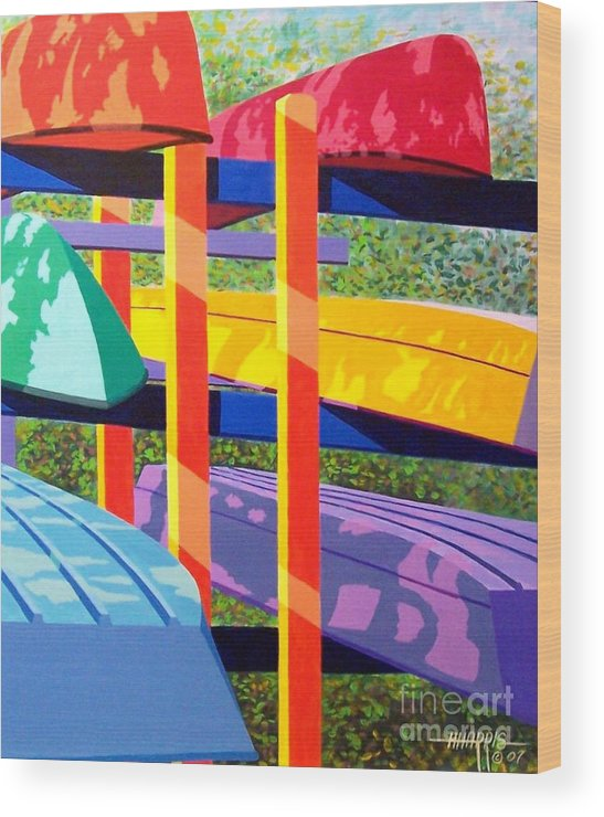 Sunlight Wood Print featuring the painting Boat Rack by Hugh Harris