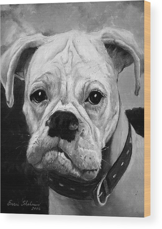 Boxer Wood Print featuring the painting Boo the Boxer by Portraits By NC