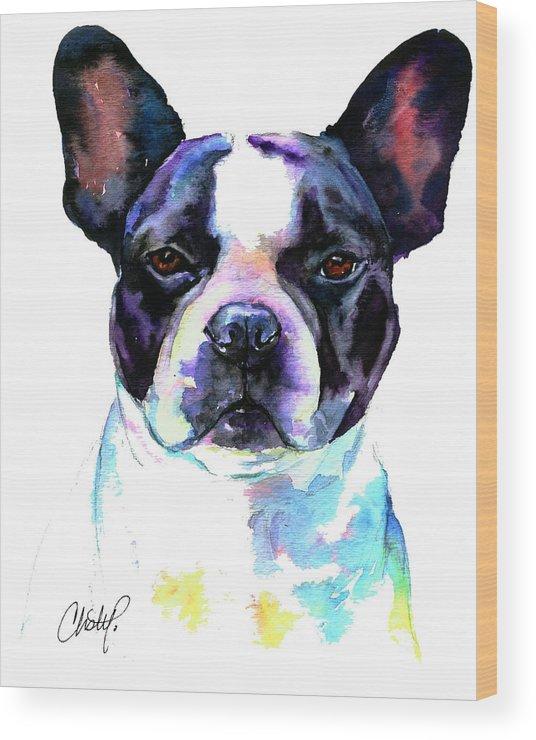 Boston Bulldog Wood Print featuring the painting Boston Bulldog Portrait by Christy Freeman Stark