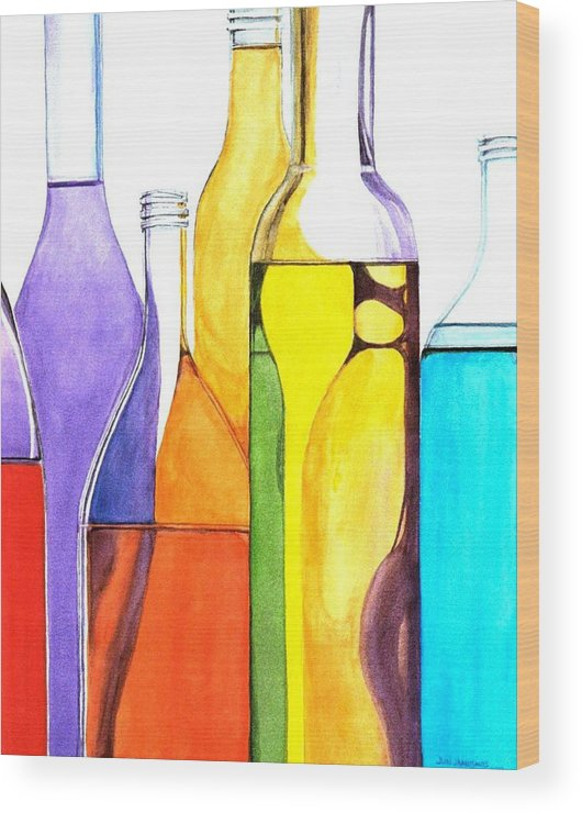 Bottle Wood Print featuring the painting Bottled Rainbow 1 by Jun Jamosmos