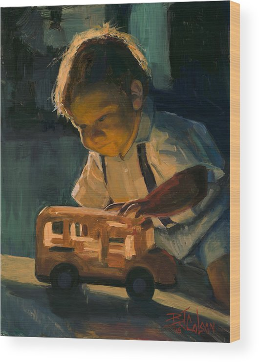 Little Boy With Toy Wood Print featuring the painting Boy and Their Toys by Billie Colson
