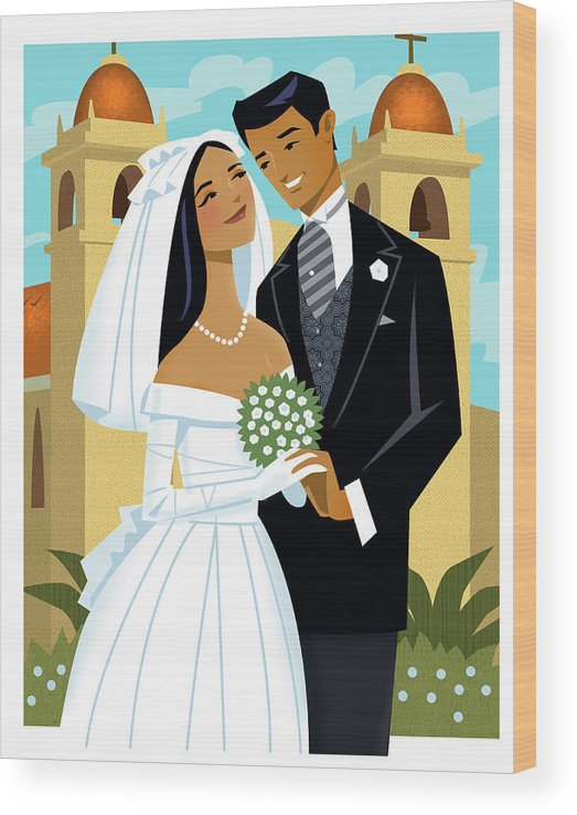 Adult Wood Print featuring the digital art Bride And Groom by Harry Briggs