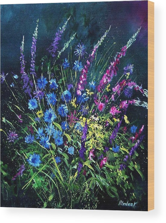 Poppies Wood Print featuring the painting Bunch Of Wild Flowers by Pol Ledent