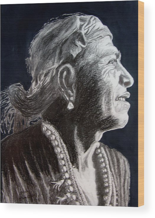 Indian Wood Print featuring the drawing Carl Moon by Stan Hamilton