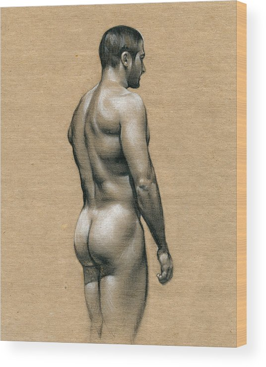 Male Wood Print featuring the drawing Carlos by Chris Lopez