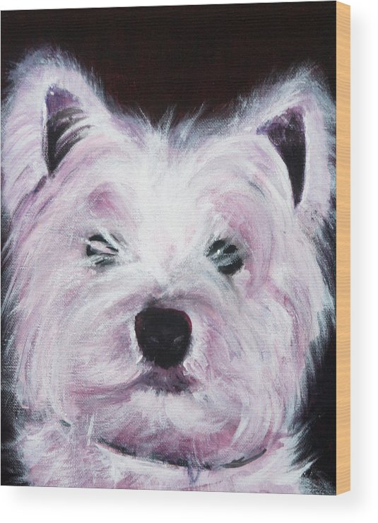 Dog Wood Print featuring the painting Cassie by Fiona Jack