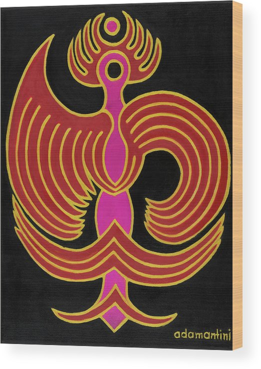 Red Bird Wood Print featuring the painting Celestial Red Phoenix by Adamantini Feng shui