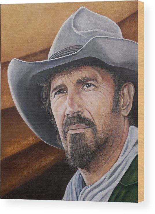 Cowboy Wood Print featuring the painting Charley Waite 2 by Kenneth Kelsoe