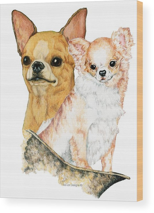 Chihuahua Wood Print featuring the drawing Chihuahuas by Kathleen Sepulveda