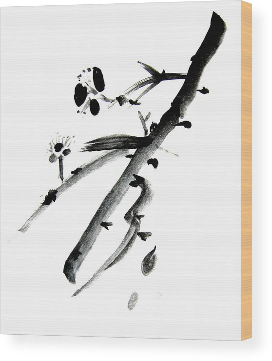 Chinese Brush Wood Print featuring the painting Chinese Brush l by Danny Pike