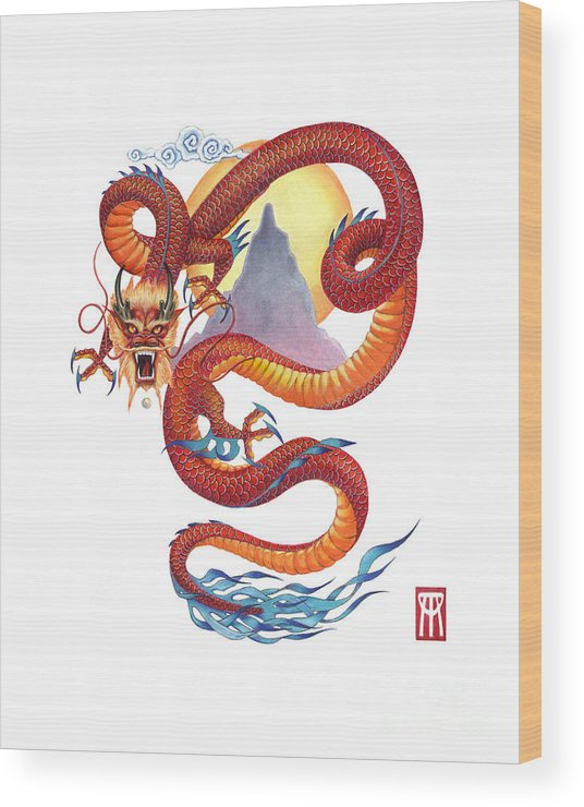 Dragon Wood Print featuring the painting Chinese Red Dragon by Melissa A Benson