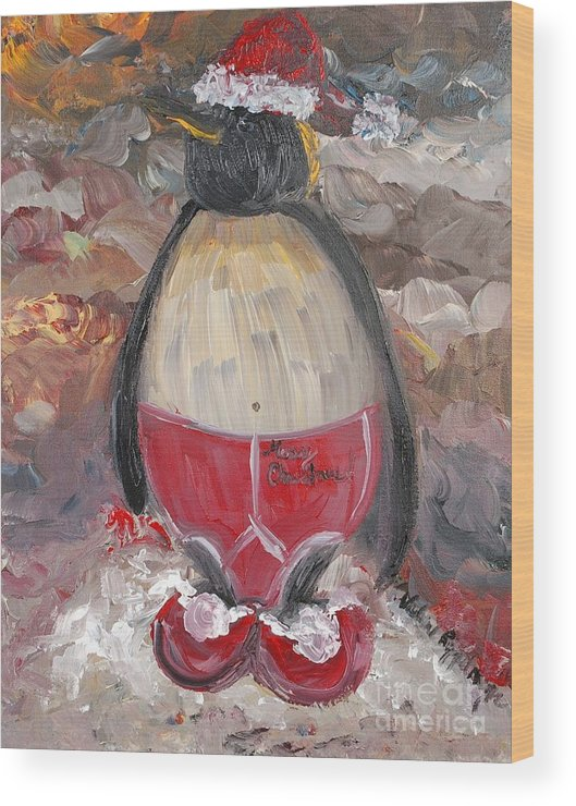 Penguin Wood Print featuring the painting Christmas Penguin by Nadine Rippelmeyer