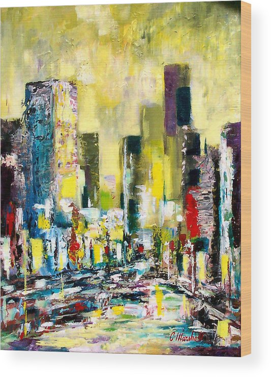 Abstract Wood Print featuring the painting City Sunrise by Claude Marshall