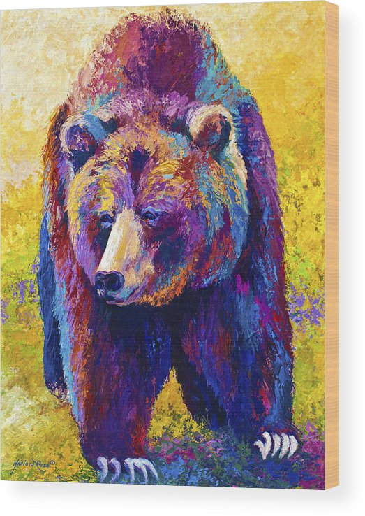 Western Wood Print featuring the painting Close Encounter - Grizzly Bear by Marion Rose