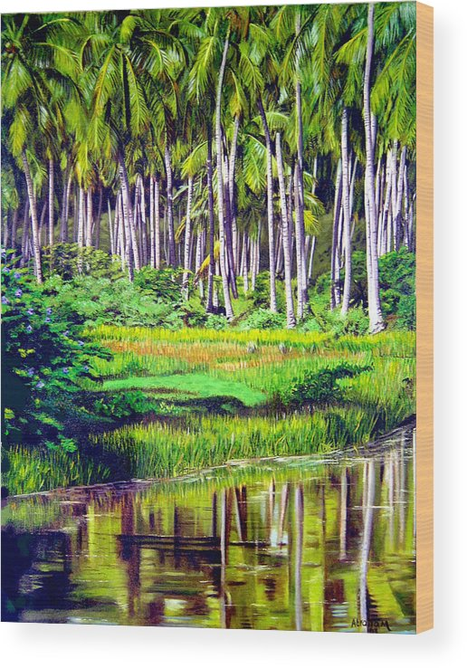 Coconuts Water River Green Art Tropical Wood Print featuring the painting Coconuts Trees by Jose Manuel Abraham