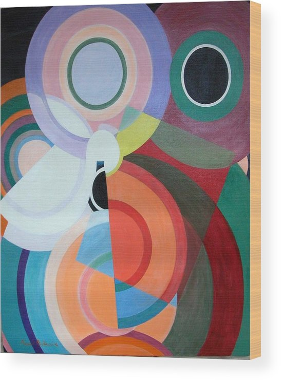 Abstract Wood Print featuring the painting Complement by Muriel Dolemieux
