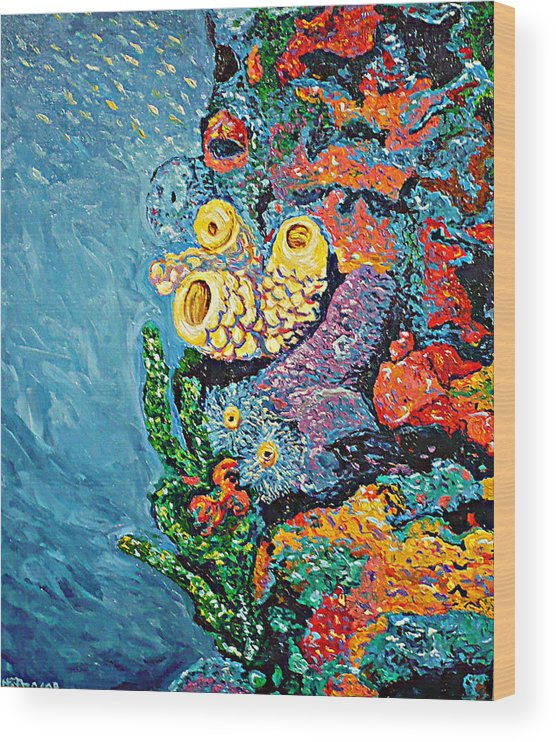 Coral Wood Print featuring the painting Coral With Cucumber by Ericka Herazo