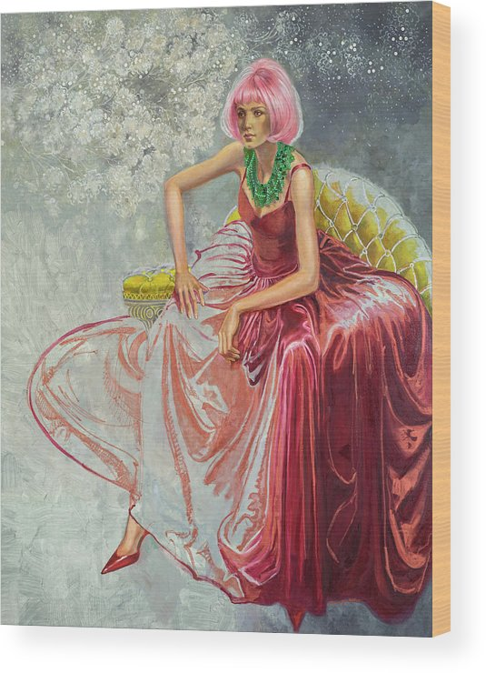 Fashion Illustration Wood Print featuring the painting Cotton Candy by Barbara Tyler Ahlfield