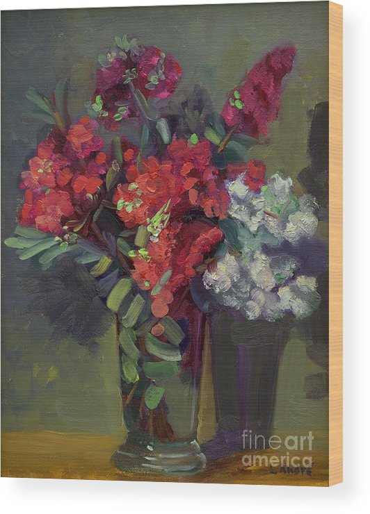 Floral Wood Print featuring the painting Crepe Myrtles in Glass by Lilibeth Andre
