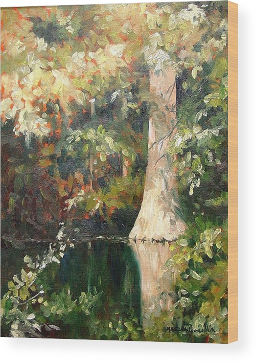 Landscape Wood Print featuring the painting Cypress in Sun by Marlene Gremillion