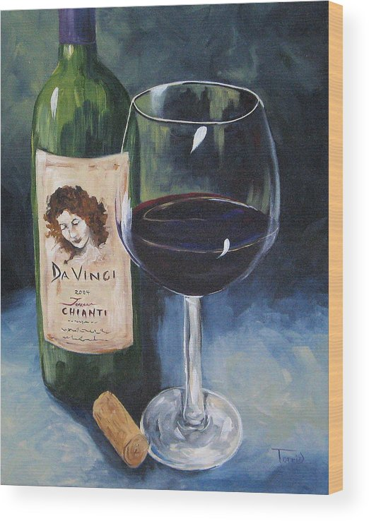 Wine Wood Print featuring the painting DaVinci Chianti for One  by Torrie Smiley