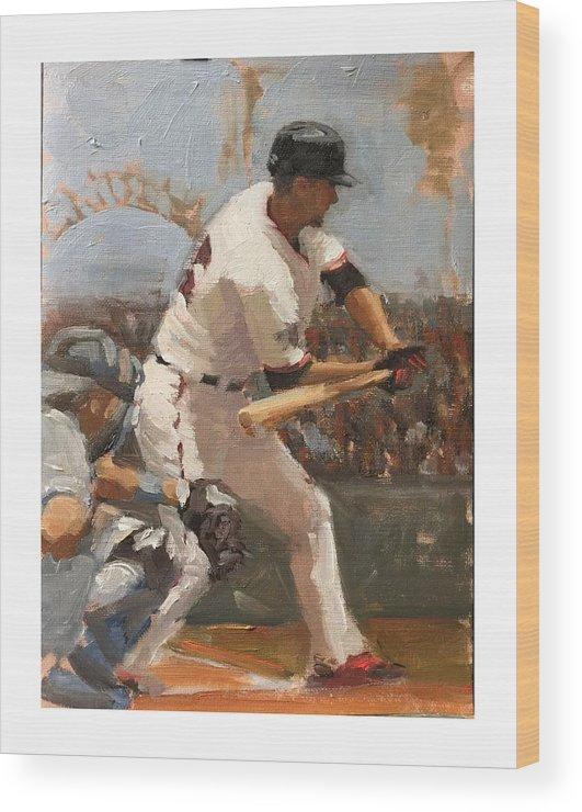 Matt Duffy Wood Print featuring the painting Duffy at Bat by Darren Kerr