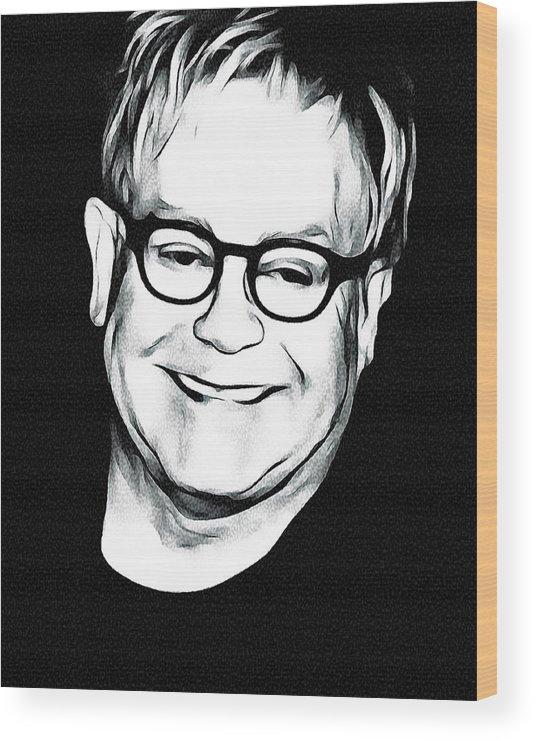 Elton Wood Print featuring the digital art Elton John Black and White by Yury Malkov
