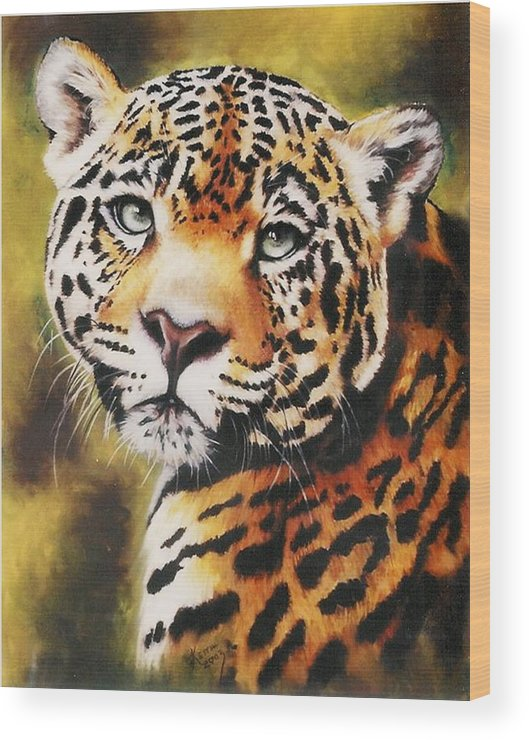 Jaguar Wood Print featuring the pastel Enchantress by Barbara Keith