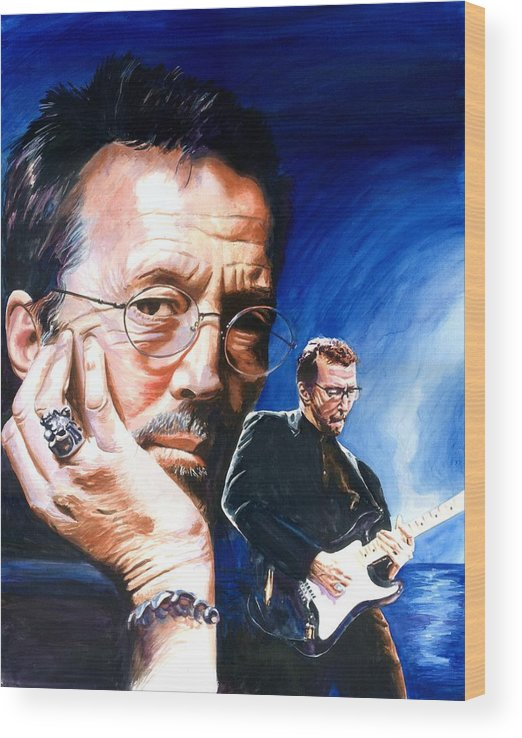 Musicians Wood Print featuring the painting Eric Clapton Blues Lake by Ken Meyer jr