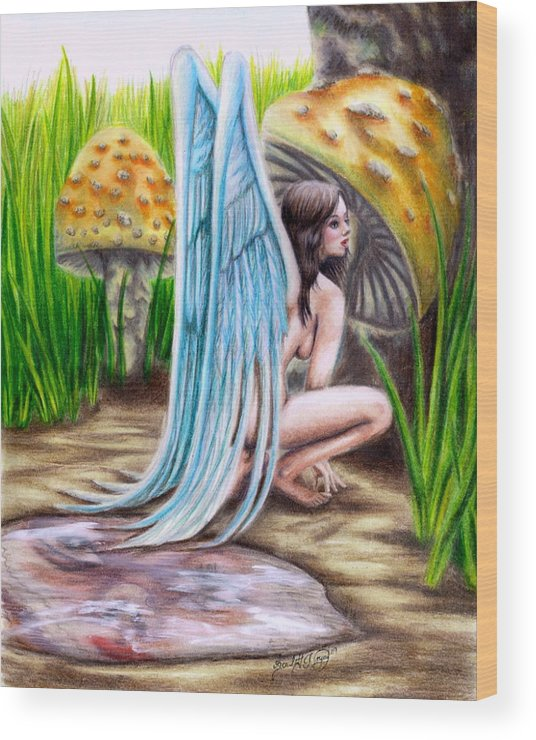 Wings Wood Print featuring the drawing Fairy Amongst Poison by Scarlett Royal