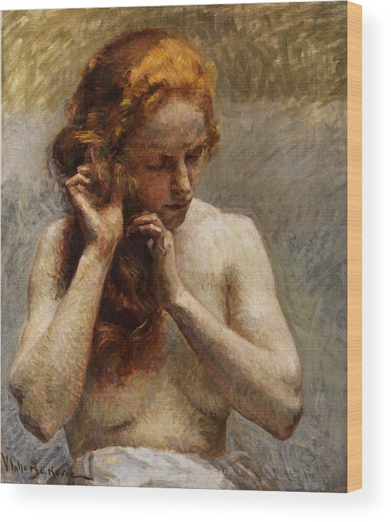 Vlaho Bukovac Wood Print featuring the painting Female Nude with Red Hair by Vlaho Bukovac